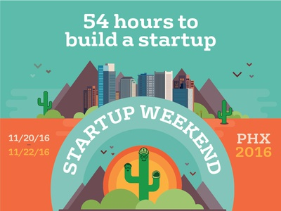 Startup Weekend Phoenix 2016 downtown buildings mountains logo branding identity cactus phx phoenix weekend startup