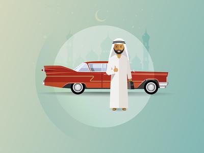 Classic Car UAE: Happy Customer Illustration illustration beard up thumbs east chevy emirates arab dubai uae car classic