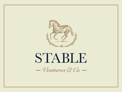 Stable Ventures Logo classic brown branding wreath rose horse logo ventures stable