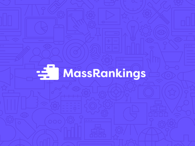 Mass Rankings seo search rankings purple optimization mass marketing logo corporate business briefcase