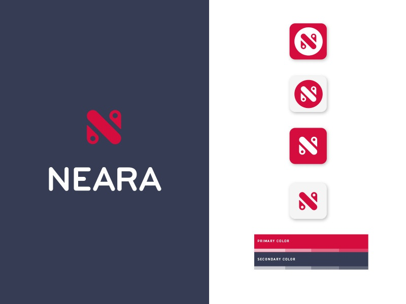 Neara 🗺📍 branding logo icon mobile sharing direction pin app location geo
