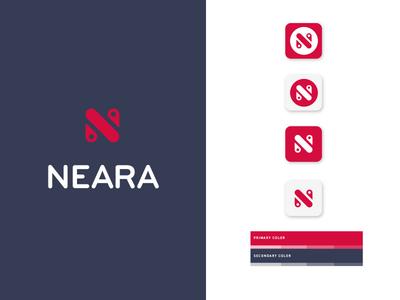 Neara 🗺📍 branding logo icon mobile sharing direction pin app location geo