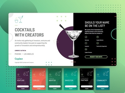 Cocktails with Creators event branding identity cocktails coplex community networking badges dots martini landing page microsite