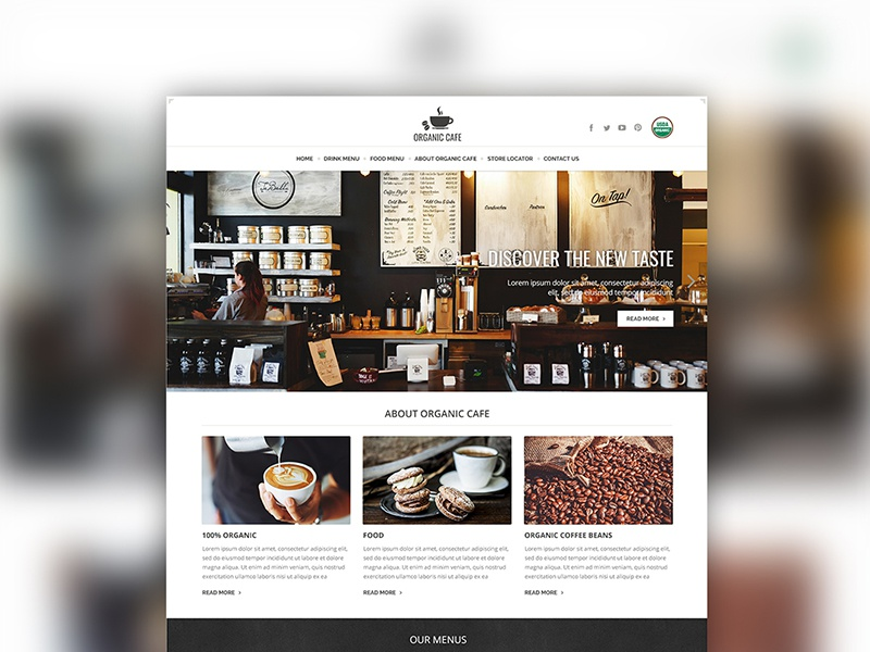 Organic Cafe theme website design by Taisuke Inui | Dribbble | Dribbble