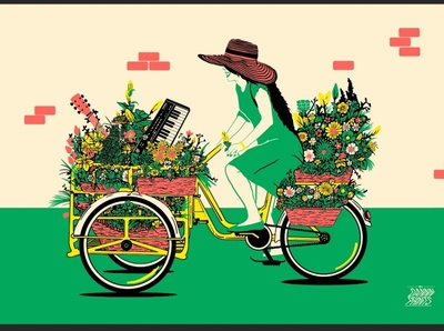 The florist flowers bicycle risograph digital painting illustration
