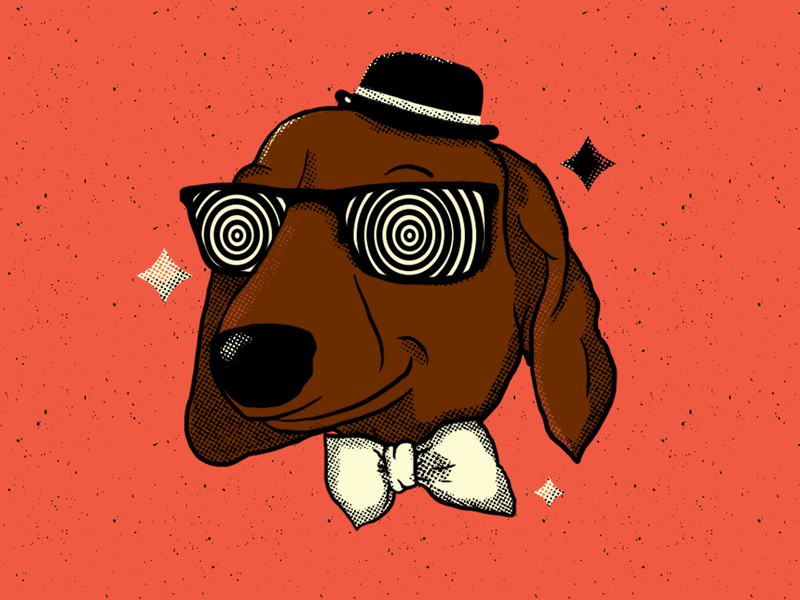Hypno-dog dachshund dog design graphic design character design digital painting illustration