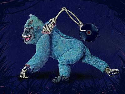 Disco Gorilla gorilla skeleton anatomy city character design digital painting illustration