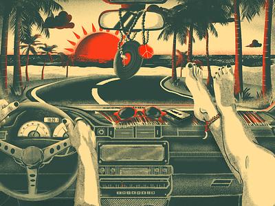 Hit the road texture grit hippie sunset beach roadtrip car graphic design digital painting illustration