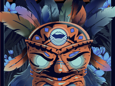 Warrior flowers warrior feathers mask graphic design digital painting illustration