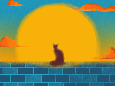 Cat brick wall noon sun sunset cat texture grit graphic design digital painting illustration