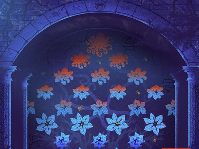 The tunnel tessellation ruins mural underwater tunnel graphic design digital painting illustration