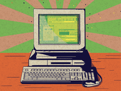 Vintage PC pc computer 90s gritty graphic design digital painting illustration