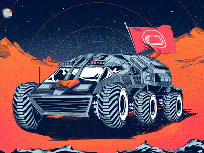 Space Buggy gritty universe outerspace astronaut buggy moon graphic design digital painting illustration