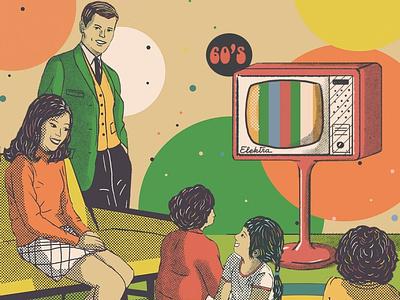 60`s Television Show retro design television 60s aesthetic graphic design retro digital painting illustration