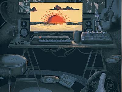 Getaway music album studio music graphic design digital painting illustration
