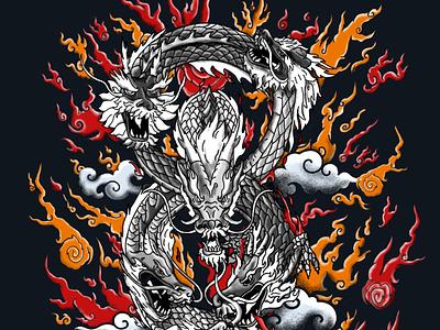 Dragons dragons tattoo japanese character design digital painting illustration
