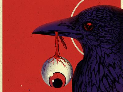 Evil crow photoshop gritty eye crow horror digital painting illustration