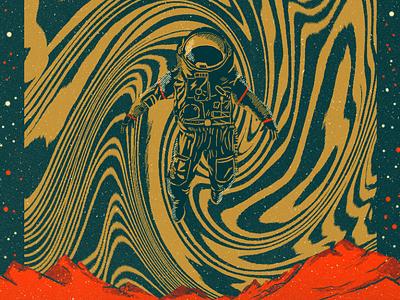 Exploring new dimensions sci-fi astronaut grit texture music poster graphic design digital painting illustration