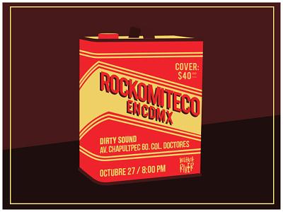 Rockomiteco en CDMX punk rock gasoline flyer gig poster music poster illustration