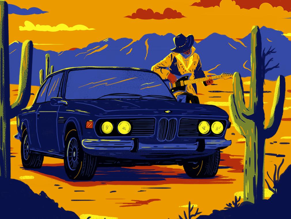 Howdy! bmw desert adobephotoshop cowboy gig poster music poster digital painting illustration