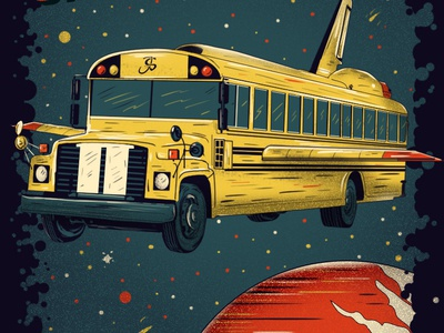Space Bus! digital painting poster bus school school bus graphic design illustration