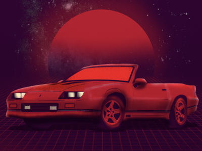 Camaro adobe photoshop sunset 80s retro camaro car graphic design design digital painting illustration