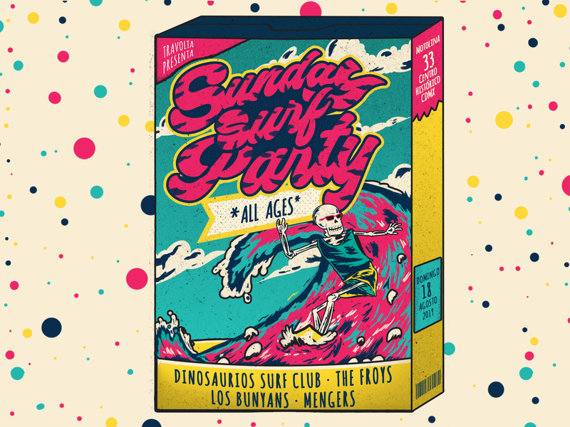 Sunday Surf Party Gig Poster cereal box surf indie music gig poster graphicdesign design music music poster illustration