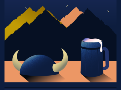 Cheers! nordic beer viking gradients gradient vector illustration
