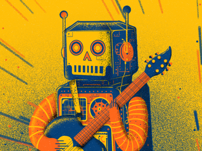 Robot guitar robot graphic design character design digital painting illustration