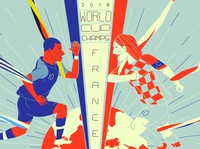 2018 World Cup Winners world cup 2018 croatia france vector design character design drawing illustration
