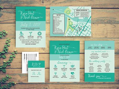 Wedding Invitation Suite invites turquoise donut map print design stationary wedding invitations invitation wedding