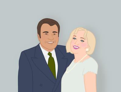 Grandparents portrait cartoon illustration