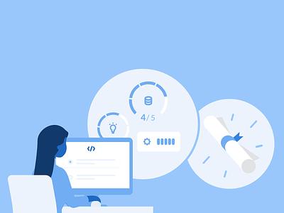 Triplebyte Assessments design blue monochromatic minimal visual design illustration