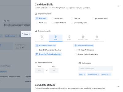 Filter Sidebar app search filters hr software design ux ui