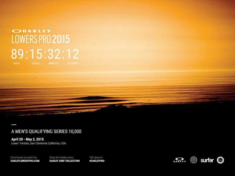Oakley - LowersPro 2015 - Countdown oakley sunglasses website typography layout design responsive visual design surf countdown