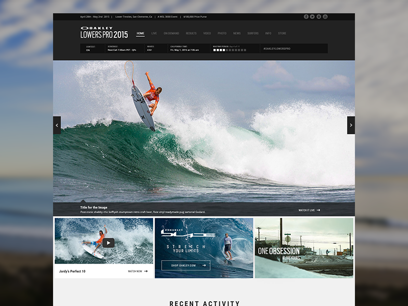 Oakley LowersPro 2015 oakley surfer surfing responsive design ui branding contest event sports wsl sunglasses