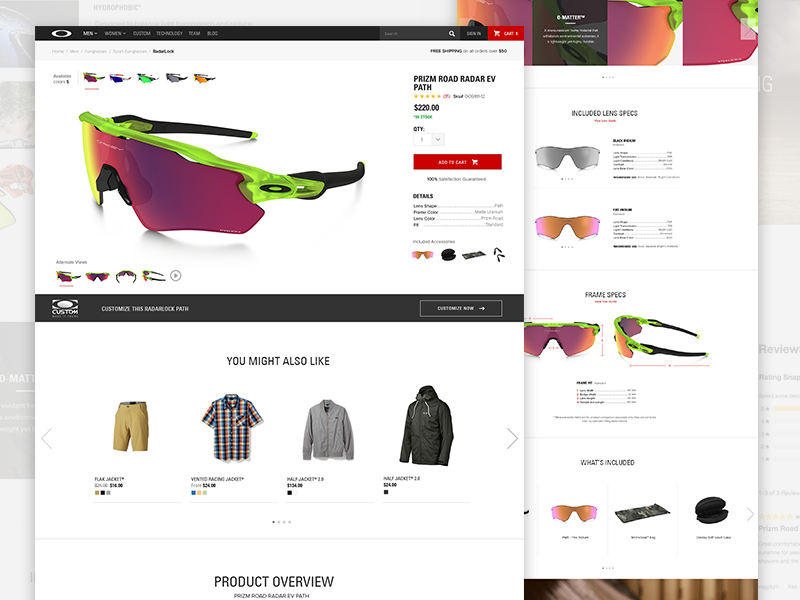 Oakley PDP Ecommerce ux visual design responsive design layout typography website sunglasses pdp ecommerce oakley