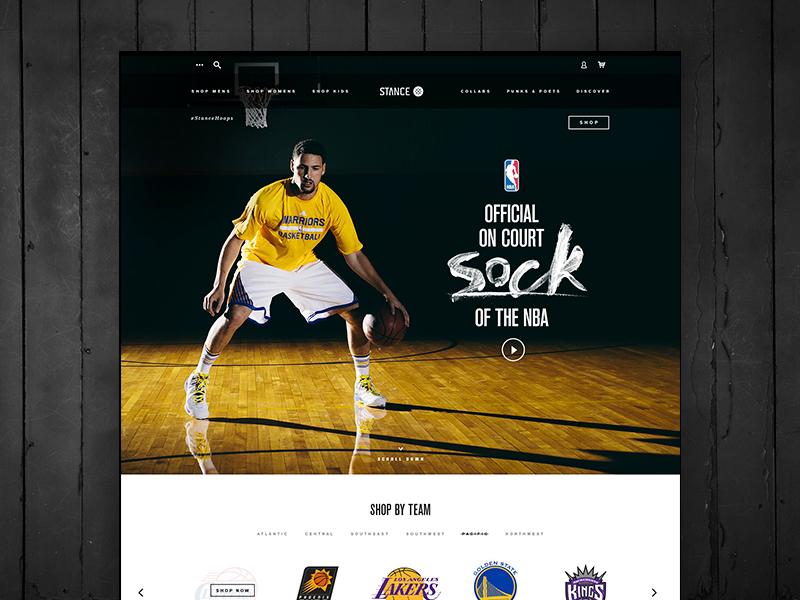 Stance NBA Landing Page design ui ux socks typography landing page web nba stance