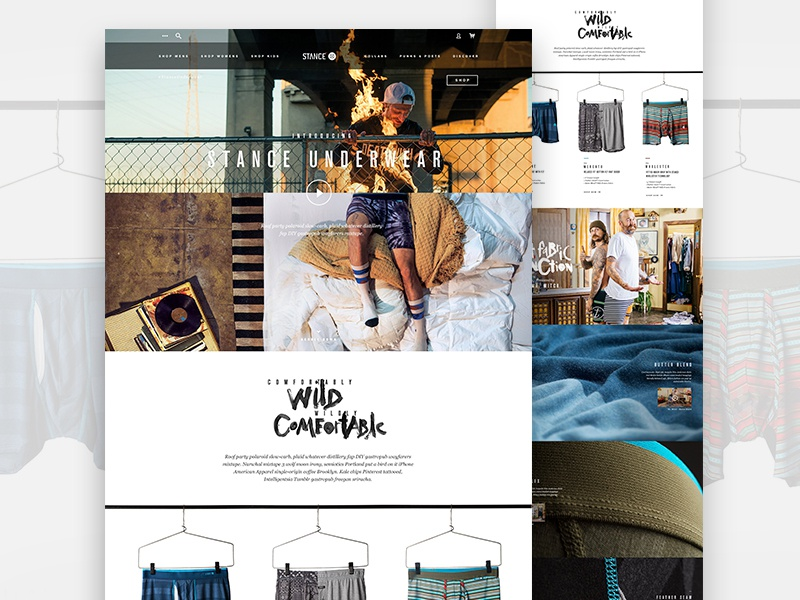 Stance Underwear Landing Page fashion skate ecommerce underwear ui web landing page design ux stance