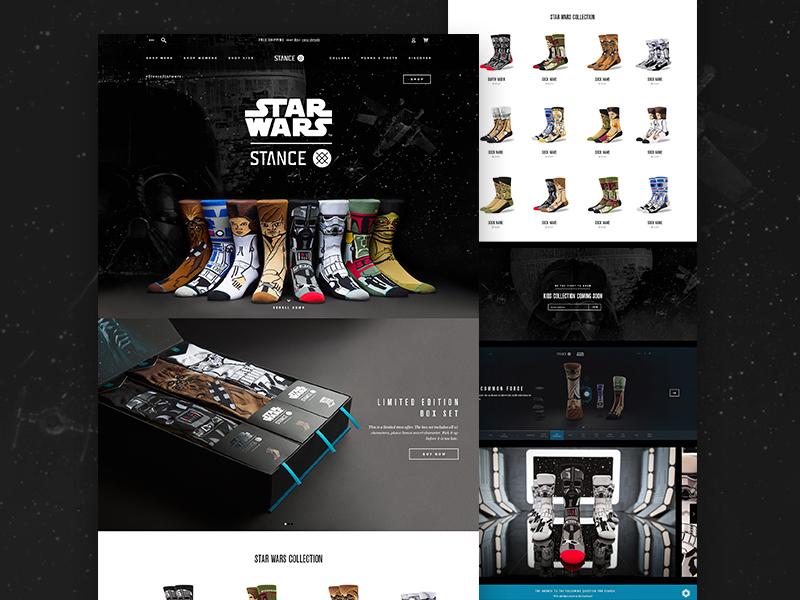 Stance Star Wars Socks star wars stance ux design landing page web ui socks ecommerce fashion