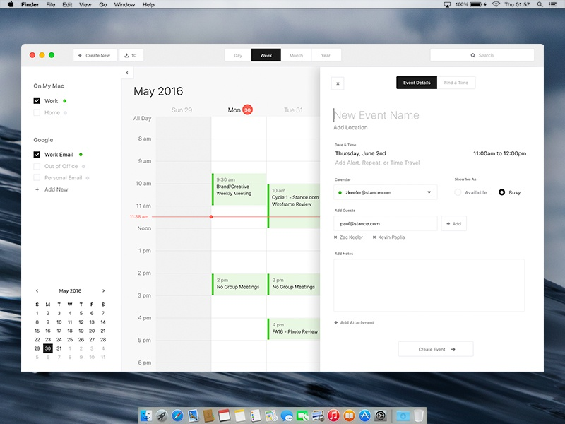 Calendar Design Mac : Mac calendar desktop app design exercise by zac keeler