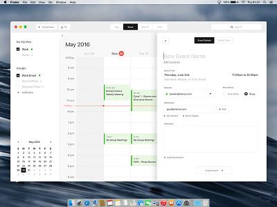Mac Calendar Desktop App - Design Exercise ui design product design desktop app calendar mac apple