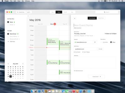 Mac Calendar Desktop App - Design Exercise