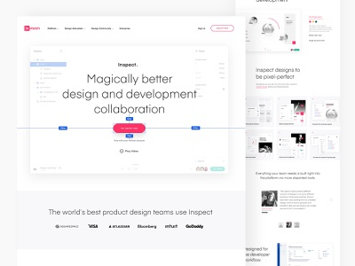 InVision's Inspect - Design and development collaboration tool. web design landing page collaboration development design inspect invision