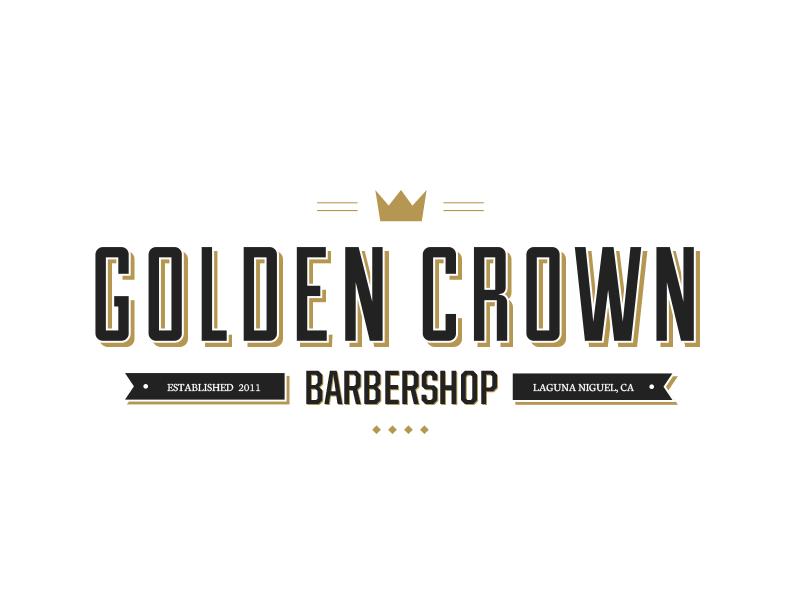 Golden Crown Barbershop logo barbershop logo badge branding design typography barber
