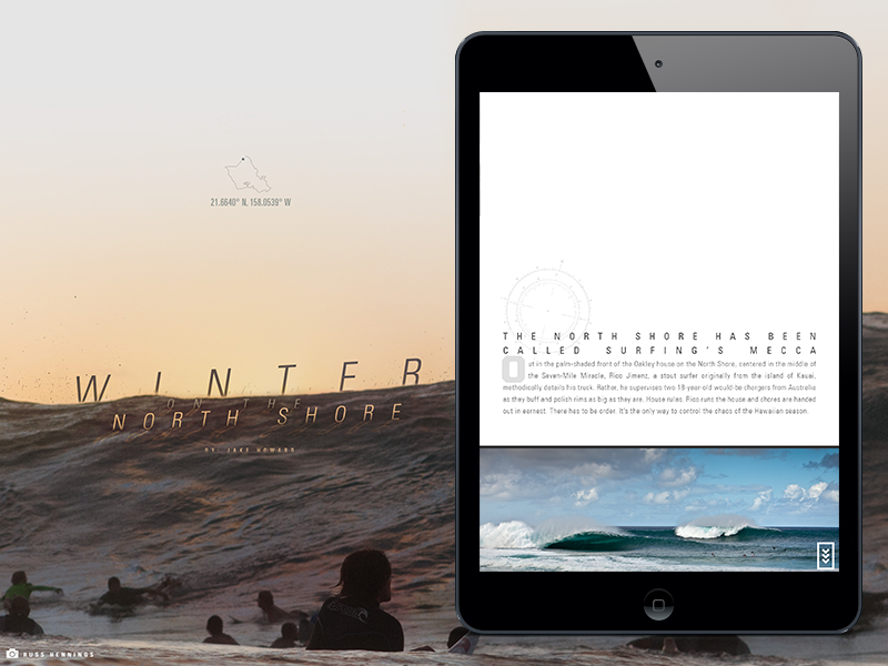 One Icon - Winter on the North Shore ipad surf surfing magazine layout design typography type article wave interaction digital oakley 1 icon
