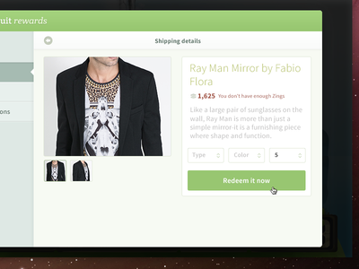 Redeem product page