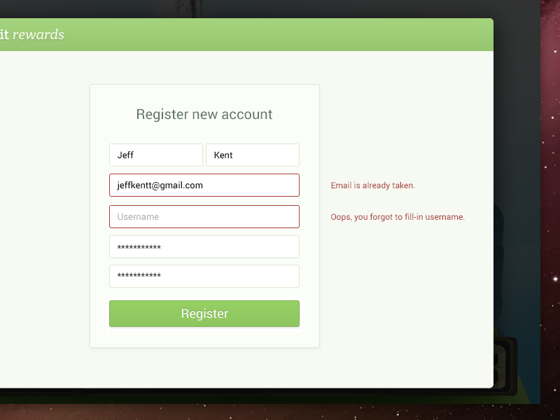 Register Error error state user interface ui design