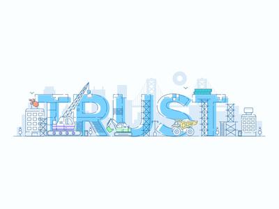 Trust homepage street construction san francisco re-brand branding sift science fraud city trust illustration