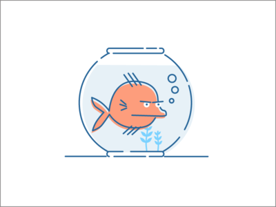 Fish Bowl cartoon angry bubbles learning machine science sift icon scale illustration bowl fish